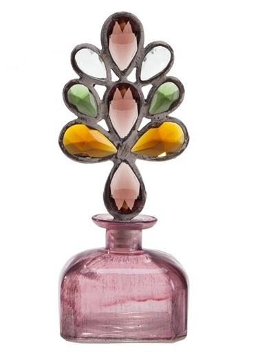 Warm Design Kristal Tıpalı Dekoratif Cam Şişe Pembe